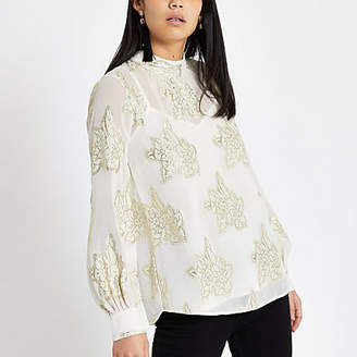 River Island White floral jacquard tie front top