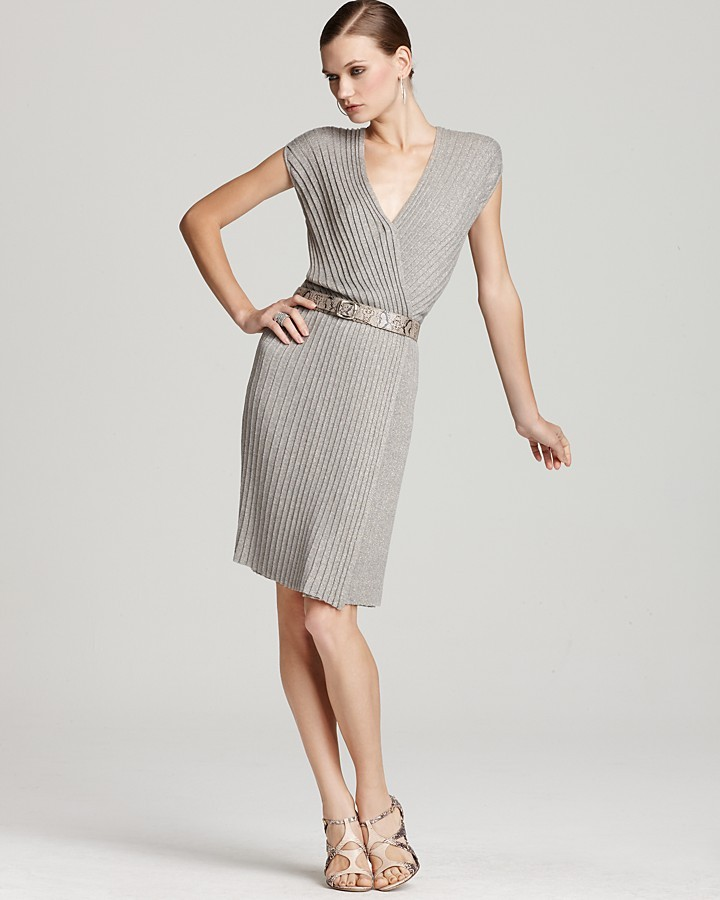 Anne Klein Collection Dianalux Metallic Wrap Dress
