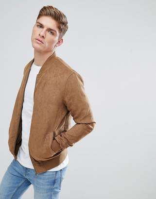 Solid Faux Suede Bomber In Tan