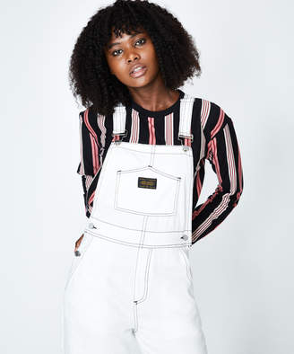 Stussy Welington Wide Leg Overalls White Black Stitching