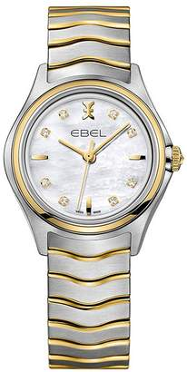 Ebel Wave 1216197 Mother Of Pearl Dial Diamond Set Real Gold And Stainless Steel Bracelet Ladies Watch