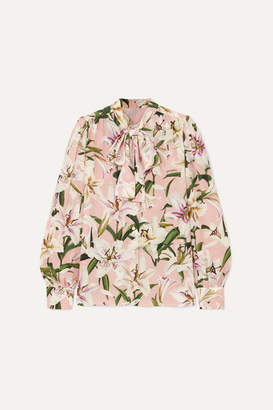 Dolce & Gabbana Pussy-bow Floral-print Silk-chiffon Blouse - Pink