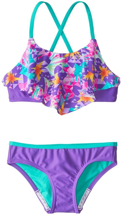 Speedo Girls' Jungle Floral Ruffle Two Piece Bikini Set (716) - 8154760