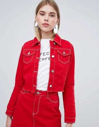 Urban Bliss Cropped Denim Jacket with Raw Hem