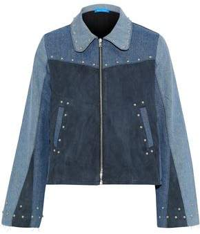 MiH Jeans Folken Suede-Paneled Color-Block Studded Denim Jacket