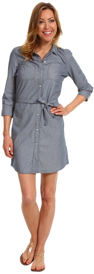Calvin Klein Jeans Petite - Petite Stripe Dress (Indigo Stripe) - Apparel