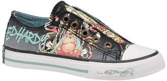 Ed Hardy LOWRISE Kids Canvas Top Sneaker Shoes (Kids 2, Black)
