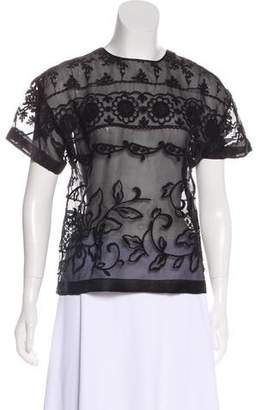 No.21 No. 21 Embroidered Short Sleeve Top