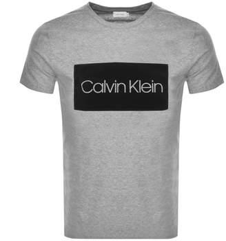 Calvin Klein Flock Logo T Shirt Grey