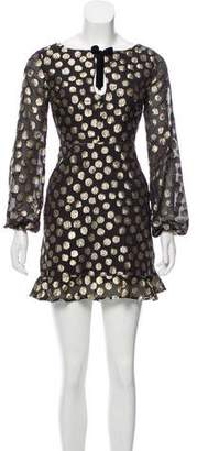 For Love & Lemons Metallic-Accented Long Sleeve dress w/ Tags