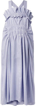Carven Smocked Ruffled Striped Cotton-poplin Midi Dress - Sky blue