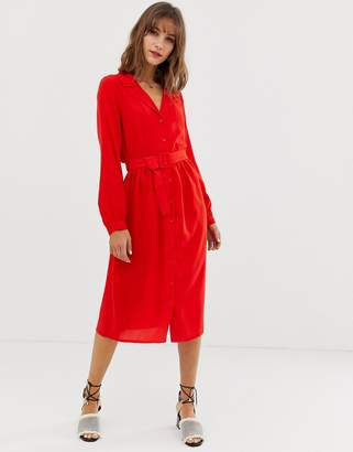 Vero Moda midi shirt dress with fabric covered belt