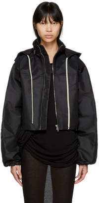 Rick Owens Black Cropped Windbreaker Jacket