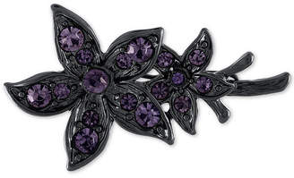 Rachel Roy Black-Tone Crystal Flower Hair Clip