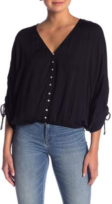 Love Stitch Ruched Drawstring Sleeve Top