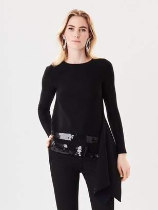 Oscar de la Renta Sequin Stripe-Embroidered Wool Pullover