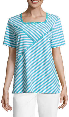Alfred Dunner Turks And Caicos Square Neck Spliced Stripe T-Shirt-Womens