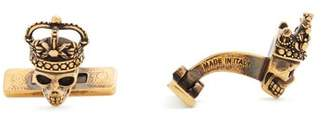 Alexander McQueen King And Queen Skull Cufflinks - Mens - Gold
