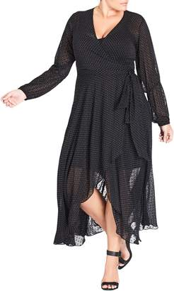 City Chic Spotty Dobby Maxi Dress
