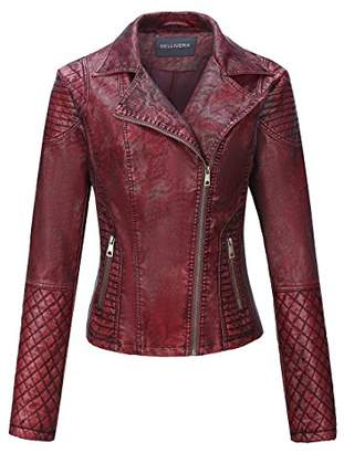 Bellivera Women's Faux Leather Short Jacket,Frosted Moto Casual Coat