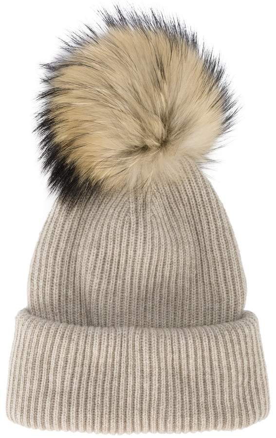 Inverni Neutral Ribbed Cashmere Hat With Fur Pom Pom