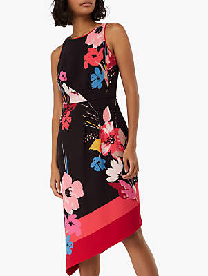 Monsoon Eloise Print Asymmetric Hem Dress, Black