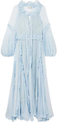 Lee Mathews - Bluebell Ruffled Silk-georgette Maxi Dress - Light blue
