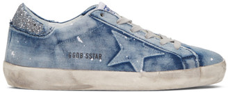 Golden Goose Blue Denim Superstar Sneakers $530 thestylecure.com