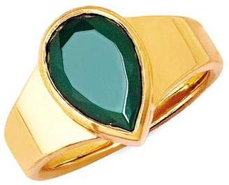 Johnny Was Green Agate Petal Ring