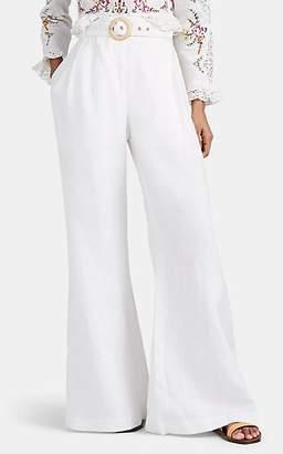 Zimmermann Women's Honour Linen Wide-Leg Belted Pants - White