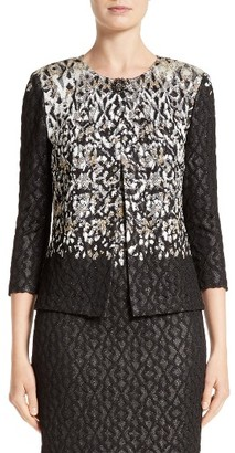 Women's St. John Collection Pixelated Metallic Jacquard Knit Jacket $1,395 thestylecure.com