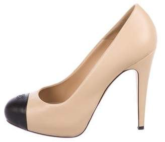 Chanel CC Leather Cap-Toe Pumps