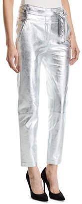 Veronica Beard Faxon Leather Tie-Waist Pants