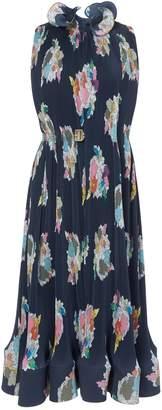 Tibi Pleated Camellia Sleeveless Dress with Removable Belt