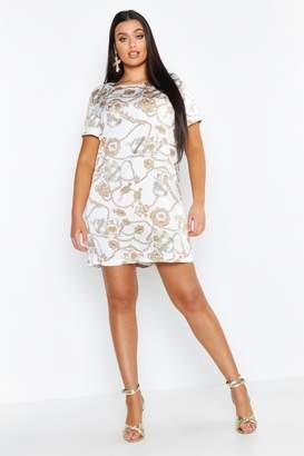 boohoo Plus Satin Chain Printed Shift Dress