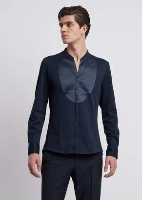 Emporio Armani Textured Jersey Shirt With Tone-On-Tone Silk Plastron