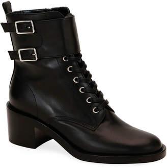 cf45666ee Gianvito Rossi Calf Leather Side-Zip Combat Booties