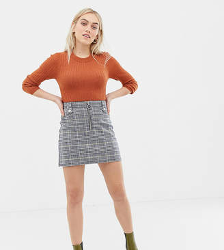 Brave Soul Petite adore check skirt with zip detail