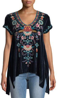 Johnny Was Delphine Short-Sleeve Embroidered Velvet Top