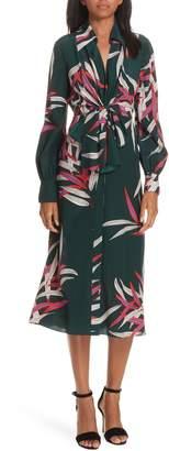 Diane von Furstenberg Von Front Tie Silk Shirtdress