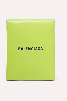Balenciaga Shopping Envelope Printed Textured-leather Clutch - Green