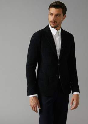Giorgio Armani Upton Single-Breasted Jacket In Melange Chenille