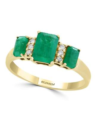 Effy Brasilica 14k Yellow Gold, 0.06 CT. T.W. Diamond and 1.48 Emerald Ring