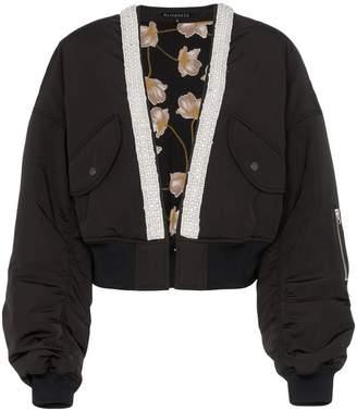 Blindness collarless crop bomber jacket