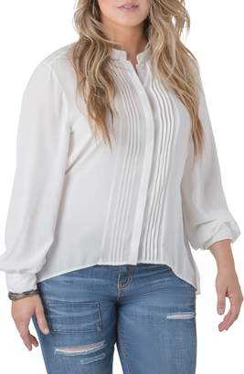 Standards & Practices Trisha Tuxedo Front Chiffon Blouse