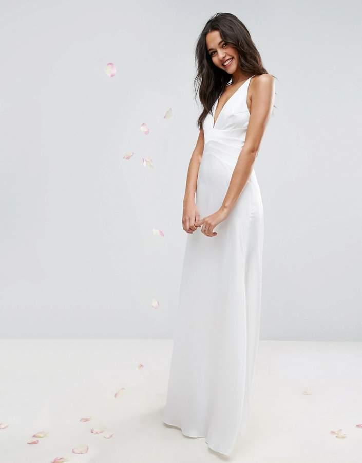AsosASOS BRIDAL Paneled Bodice Plunge Maxi Dress