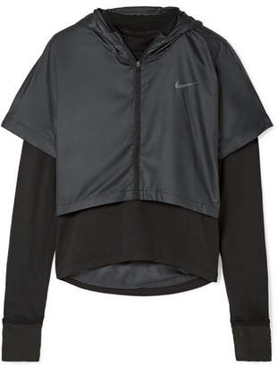 Nike Therma Element Layered Stretch-jersey And Shell Hooded Top - Black