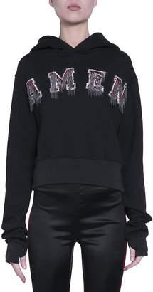 Amen Logo Cropped Cotton Sweatshirt