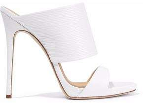 Giuseppe Zanotti Design Cutout Textured-Leather Mules