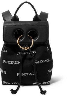 J.W.Anderson Pierce Mini Embroidered Canvas And Leather Backpack - Black